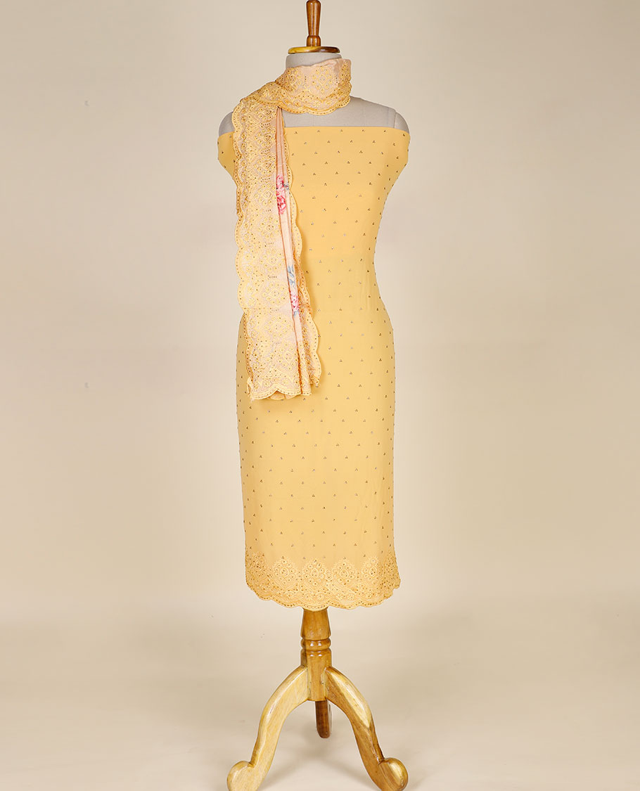 Yellow Georgette Chudidhar Material