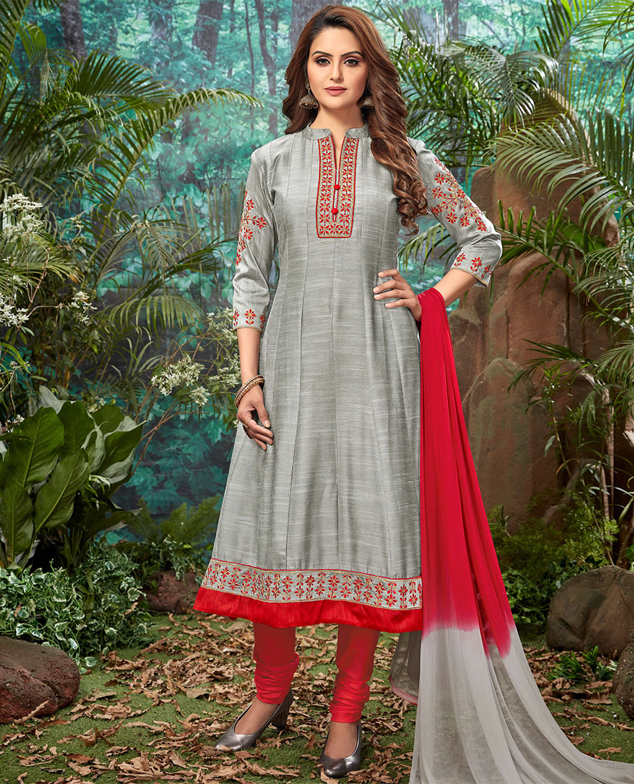 Grey SilkCotton Semistitched Material