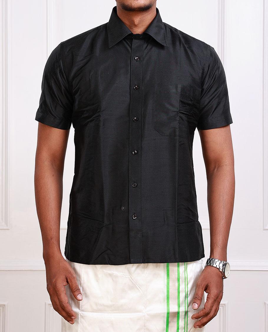 Black Pure Silk Shirt